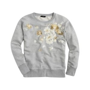 J CREW Gray Floral Embroidered Sweatshirt Size XL